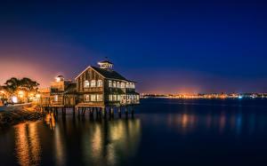 Фото Штаты Дома Океан Сан-Диего Ночью Уличные фонари Города