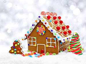Фото Праздники Рождество Выпечка Здания Печенье Пряничный домик Дизайна Елка Продукты питания