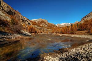 Картинка Франция Горы Озеро Осень Пейзаж Estenc Alpes Природа