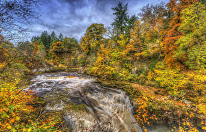Картинки Шотландия Леса Водопады Осень HDR Clyde Valley Woodlands Природа