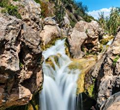Фотография Водопады Камень Скала Природа