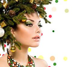 Фото Рождество Ветки Шар Макияж Лицо Девушки