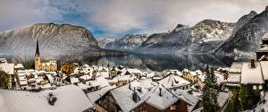 Картинки Австрия Озеро Горы Здания Халльштатт Альпы
