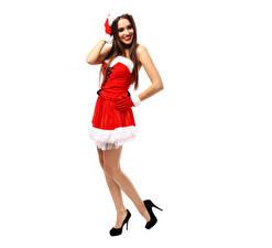 Картинки Праздники Новый год Шатенка Ноги Туфли Униформа Шапки Девушки