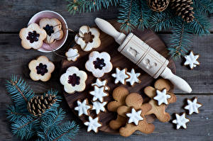 Обои Новый год Выпечка Печенье Ветки Шишки Еда фото