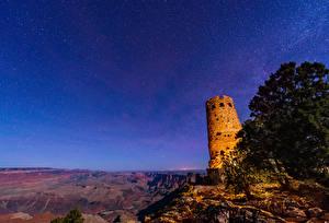 Фотография Штаты Парки Руины Звезды Небо Гранд-Каньон парк Каньона Скале Ночь Природа Космос