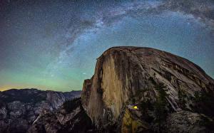 Фотографии Штаты Парки Млечный Путь Небо Звезды Пейзаж Йосемити Скалы Природа