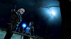 Обои The Witcher 3: Wild Hunt Геральт из Ривии Ночь Triss Merigold Игры Фэнтези Девушки 3D_Графика фото