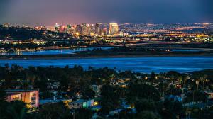 Обои Штаты Дома Сан-Диего Мегаполис В ночи Города