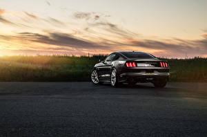 Обои для рабочего стола Ford Сзади Черная Универсал Mustang Avant Garde Wheels Sunset Sunrise Muscle Car автомобиль
