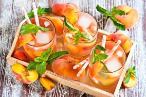 Картинки Напитки Коктейль Персики Стакане Продукты питания