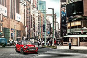 Обои для рабочего стола Mini Дома Улице Кабриолет Cooper S Cabrio F57 Автомобили Города