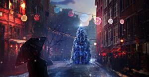 Обои Рождество Праздники Живопись Улица Елка Зонт Города