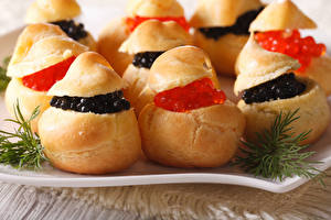 Фотография Бутерброды Булочки Морепродукты Икра