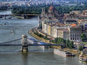 Фотография Венгрия Дома Реки Мост Будапешт город