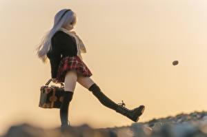 Фотография Игрушки Кукла Школьницы Блондинка Девушки