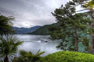 Фото Италия Пейзаж Озеро Горы Катера Lenno Природа