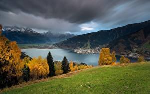 Фотография Австрия Озеро Горы Осенние Пейзаж Луга Альп Lake Zell Zell am See Природа