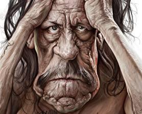 Картинка Мужчины Живопись Danny Trejo Смотрят Старые wrinkles