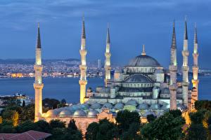 Фото Турция Стамбул Султанахмет Дворец Ночь Уличные фонари