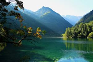 Фото Пейзаж Китай Парки Гора Озеро Лес Цзючжайгоу парк Природа