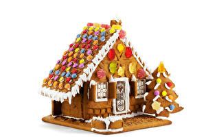 Фотография Новый год Выпечка Дома Пряничный домик Дизайн