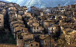 Фото Италия Дома Scanno Города