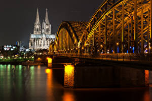 Обои Германия Мост Речка Кёльн Ночь город