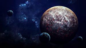Обои Планеты Спутник Фэнтези Космос фото