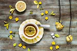 Фото Чай Лимоны Розы Желтые Еда Цветы