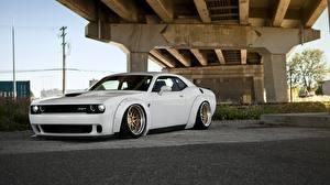 Фотографии Dodge Белые 2014 Challenger SRT Hellcat Автомобили