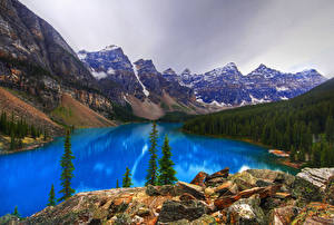 Фотография Канада Парки Гора Озеро Пейзаж Утес Moraine Lake Alberta Природа