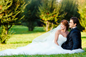 Обои Мужчины Любовники Свадьба Невеста Жених the couple happiness Девушки