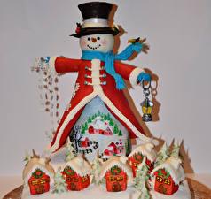 Фотография Сладости Торты Здания Дизайна Снеговики Шляпы