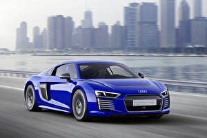 Обои Audi Синих Металлик Движение 2015 Audi R8 e-tron piloted driving авто