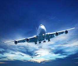 Фотографии Самолеты Небо Пассажирские Самолеты Облака Авиация