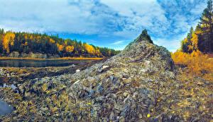 Фото Россия Леса Осень Речка Камень Ural Природа