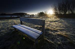 Фотография Рассветы и закаты Зимние Скамейка