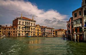 Фото Италия Дома Венеция Водный канал Города