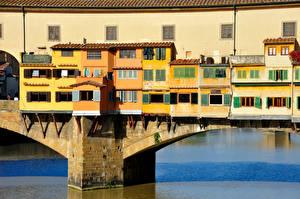 Фотография Италия Мосты Реки Дома Флоренция Города