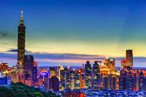 Картинка Небоскребы Здания Тайвань Ночь Города