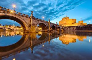 Обои Италия Мосты Реки Рим Города