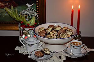 Картинка Выпечка Печенье Свечи Кофе Чашка