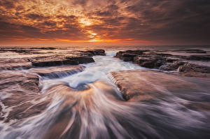 Картинки Австралия Море Рассветы и закаты Природа