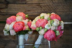 Фото Букеты Пионы Розы Двое Цветы