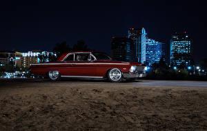 Обои Chevrolet Ночь Сбоку Красный Impala 1962 American Muscle Car Автомобили фото