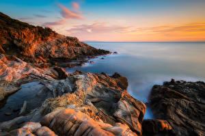 Картинки Италия Побережье Небо Calafuria Природа