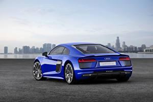 Фото Audi Синие Металлик Вид сзади 2015 Audi R8 e-tron машина