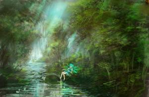 Фотография Леса Речка Живопись lm7 Touhou Cirno Девушки Природа