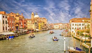 Фото Катера Италия Дома Венеция Водный канал Города